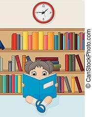 leány, könyv, felolvasás, könyvtár, karikatúra