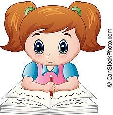 leány, könyv, felolvasás, karikatúra