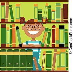 leány, könyvtár