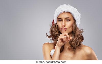 leány, kalap, santa's