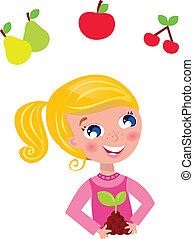 leány, kertész, boldog, costume., vektor, szőke, illustration., rózsaszínű