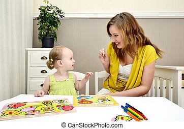 leány, kevés, játék, gyerekek, anyu, rejtvény
