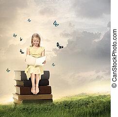leány, kevés, könyv, szőke, felolvasás