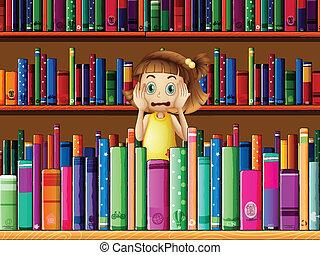 leány, kevés, megrémült, könyvtár
