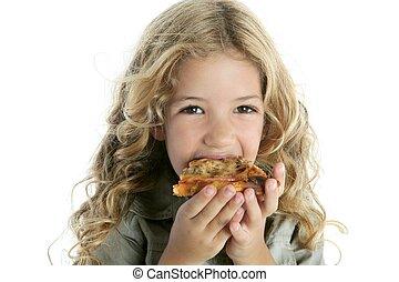 leány, kevés, pizza, étkezési