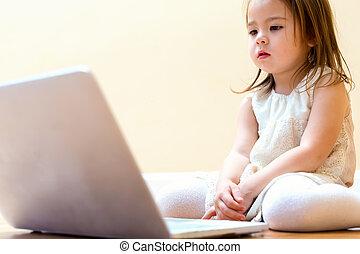 leány, kevés, számítógép, laptop, neki