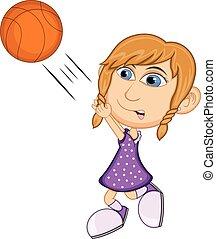 leány, kosárlabda, játék, karikatúra
