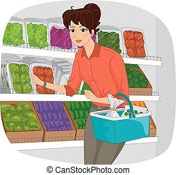 leány, létrehoz, élelmiszerbolt, szakasz