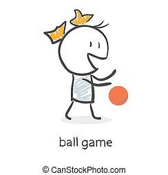 leány, labda, karikatúra, játék