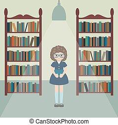 leány, library., furcsa