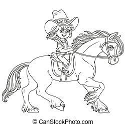 leány, lovaglás, elszigetelt, csinos, kevés, cowboy, ló, illeszt, white háttér, körvonalazott