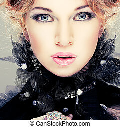 leány, mód, hairs., portrait., accessorys., piros