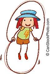 leány, mód, karikatúra, szórakozottan firkálgat, húzott, betű, fárasztó, kalap, kéz