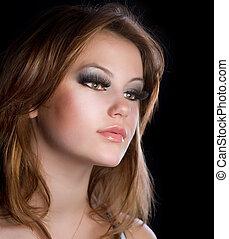 leány, mód, makeup., portré, hosszú, gyönyörű, szempillák