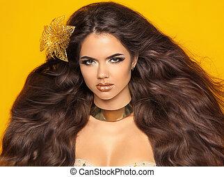 leány, mód, szépség, hair., elszigetelt, portré, hullámos, sárga, hosszú