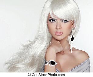 leány, mód, szépség, portrait., hair., szőke, bájos, hosszú, fehér