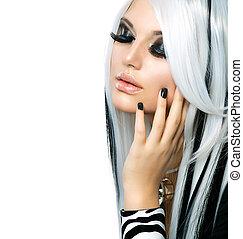 leány, mód, szépség, style., black szőr, hosszú, fehér