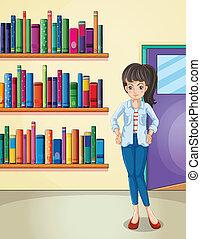 leány, meglehetősen, könyvtár