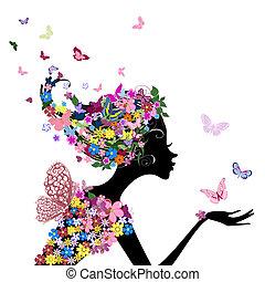leány, menstruáció, pillangók
