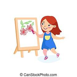 leány, nap, concept., nemzetközi, boldog, gyermekkor, gyermek, vagy, paper., boldogság, vektor, béke, izbogis, festmény, karikatúra, betű, ünnepek, easel., gyerekek, ábra, rajz, vászon, hát, menstruáció