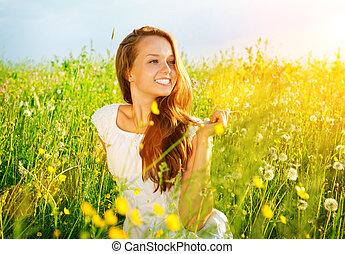 leány, nature., szabad, outdoor., élvez, allergia, meadow., gyönyörű