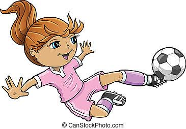 leány, nyár sport, futball, vektor