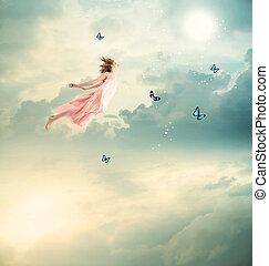 leány, pillangók, repülés, szőke
