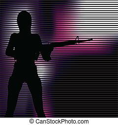 leány, pisztoly, árnykép