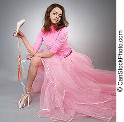 leány, pointes., látszik, rózsaszínű ruha, gyönyörű