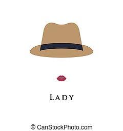 leány, retro, avatar, hat.