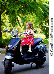leány, ruha, motorkerékpár, piros