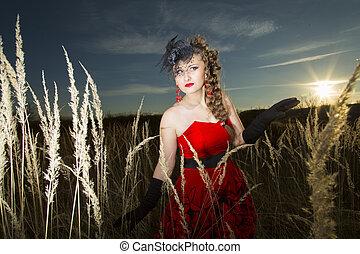 leány, ruha, piros