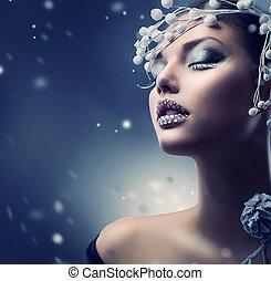 leány, szépség, alkat, tél, woman., karácsony