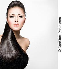 leány, szőr mód, formál, egészséges, hosszú, egyenes