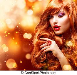 leány, szőr mód, portrait., hullámos, arany-, piros