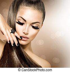 leány, szőr mód, szépség, formál, barna, egészséges, hosszú