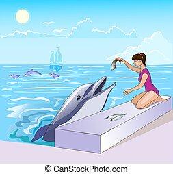 leány, táplálás, fish, karikatúra, tenger, ábra, delfin