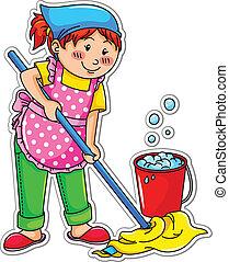 leány, takarítás