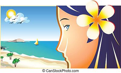 leány, tengerpart