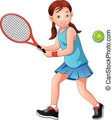 leány, tenisz, játék, karikatúra