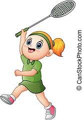 leány, tenisz, karikatúra, játék