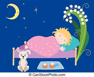 leány, vektor, kicsi, alvás, rajz