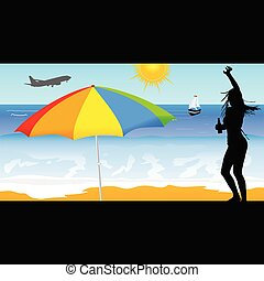leány, vektor, tengerpart, ábra