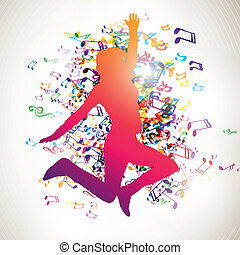leány, vektor, zene híres