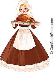 leány, zarándok, tányér