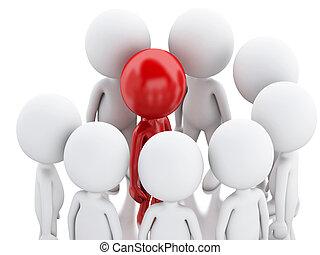 leader., 3, csoport, piros, emberek