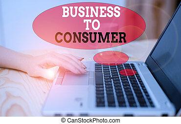 lebonyolítás, consumer., szöveg, ügy, users., fogalom, jelentés, vég, társaság, közvetlen, kézírás, között