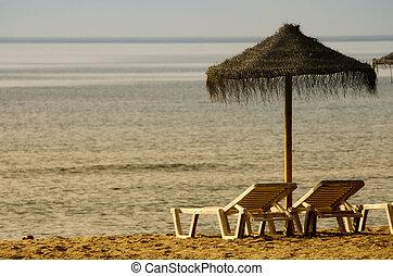 lebzsel szék, napernyő, tengerpart