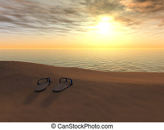 leesik, tengerpart, megfricskáz, sunset.