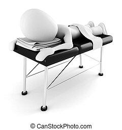 lefektetés, elszigetelt, masszázs, háttér, fehér, ember, asztal, 3